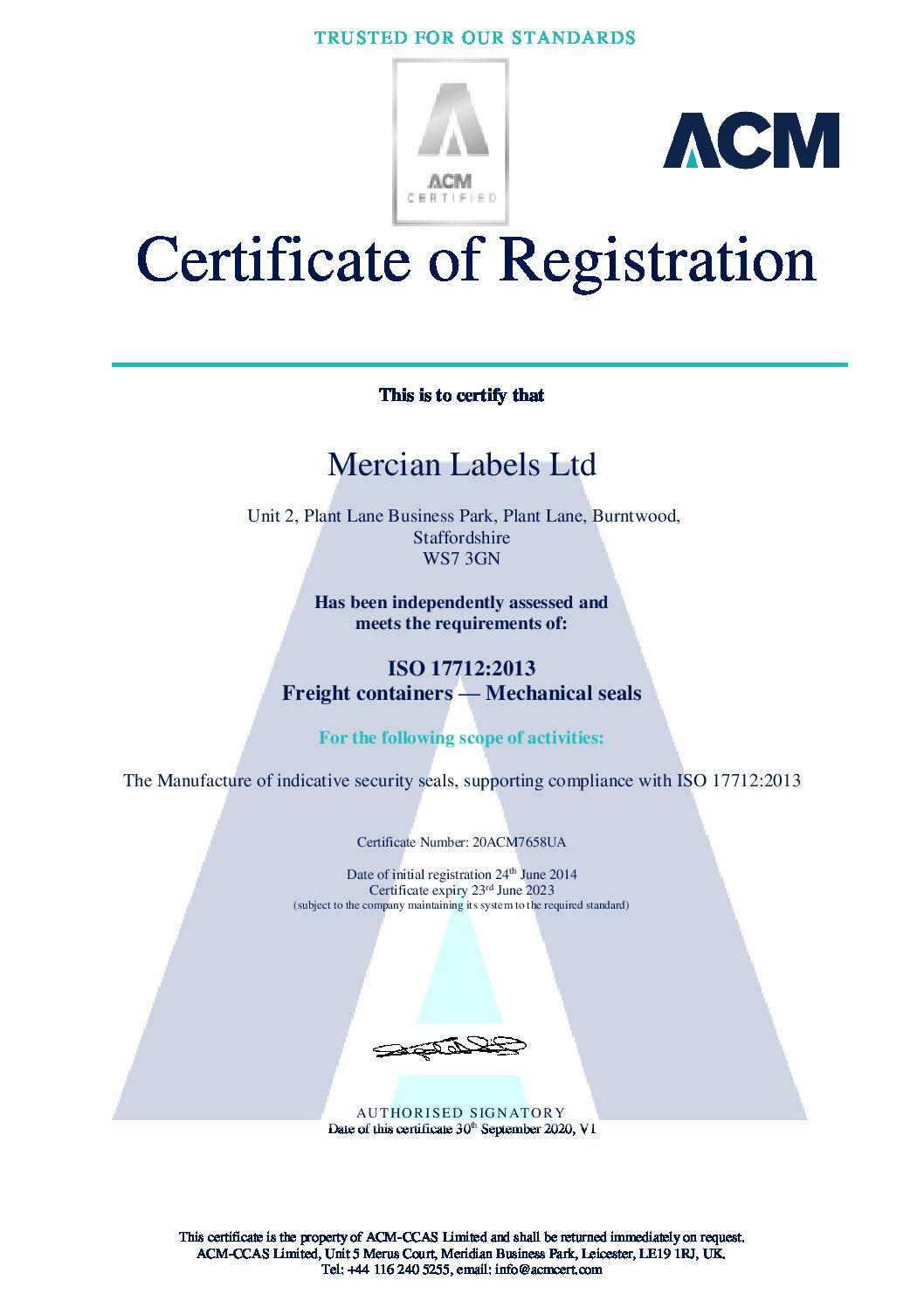 Mercian Labels Ltd 20ACM7658UA V1 pdf