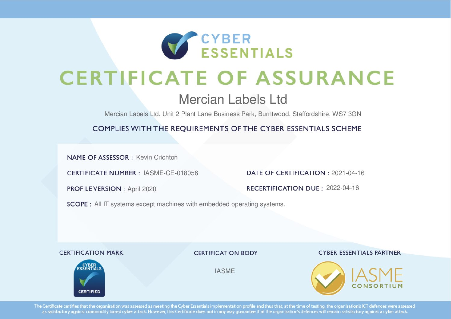 updated IASME certificate for Mercian Labels April 2020 pdf